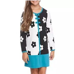 Bonnie Jean Girls Geo Floral Color Border Dress 8